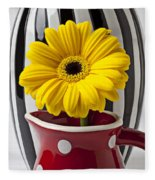 Yellow Mum In Pitcher  Fleece Blanket