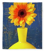 Yellow Mum In Yellow Vase Fleece Blanket