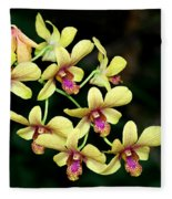 Yellow Orchid Cascade Fleece Blanket