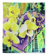 Yellow Orchids Of The Heart Fleece Blanket