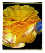 Yellow Ranunculus Flower With Blue Colored Edges Effect Fleece Blanket