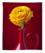 Yellow Ranunculus In Red Pitcher Fleece Blanket