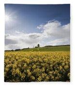 Yellow Rapeseed Field, Newgrange Fleece Blanket