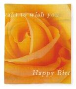 Yellow Rose Birthday Card Fleece Blanket