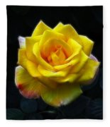 Yellow Rose In The Moonlight Fleece Blanket