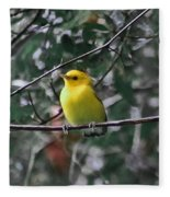 Yellow Songbird Fleece Blanket