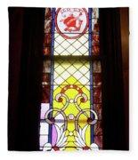 Yellow Stained Glass Window Fleece Blanket