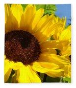 Yellow Sunflowers Art Prints Summer Sunflower Fleece Blanket