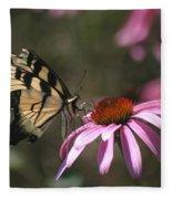 Yellow Swallowtail And Purple Coneflower Fleece Blanket