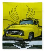Yellow Truck In Truck Grill Fleece Blanket