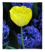 Yellow Tulip And Hyacinth Fleece Blanket