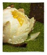 Yellow Waterlily Bud Fleece Blanket