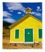 Yellow Western School House Fleece Blanket
