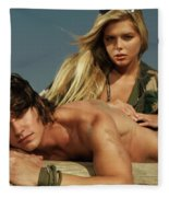 Young Beautiful Couple At The Beach Fleece Blanket