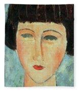 Young Brunette Fleece Blanket by Modigliani