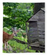 Young Buck At Treehouse Hopatcong Fleece Blanket