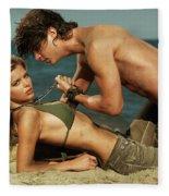 Young Couple On The Beach Fleece Blanket