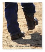 Young Cowboy With Spurs Fleece Blanket
