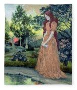 Young Girl In A Garden  Fleece Blanket