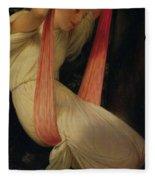 Young Girl On A Swing Fleece Blanket