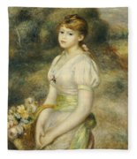 Young Girl With A Basket Of Flowers Fleece Blanket