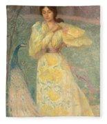 Young Girl With A Peacock Fleece Blanket