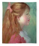 Young Girl With Long Hair In Profile Fleece Blanket