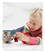 Young Girl With Silver Tabby Kitten Fleece Blanket