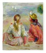 Young Girls On The Beach Fleece Blanket