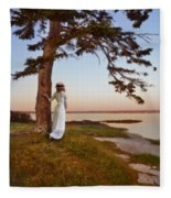 Young Lady In Edwardian Clothing By The Sea Fleece Blanket