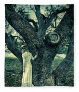 Young Lady In White By Tree Fleece Blanket