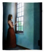 Young Lady Looking Out Window Fleece Blanket