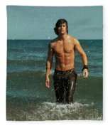 Young Man Walking Out Of The Water Fleece Blanket
