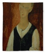 Young Man With A Black Waistcoat Fleece Blanket