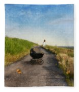 Young Woman And Baby Buggy On Dirt Road  Fleece Blanket