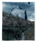 Young Woman On Creepy Path With Black Birds Overhead Fleece Blanket