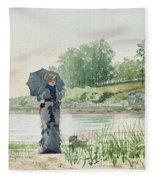 Young Woman Fleece Blanket