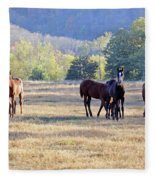 'youngsters In The Paddock' Fleece Blanket