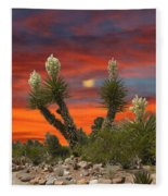 Yucca Blooming Sunset-moonset Fleece Blanket