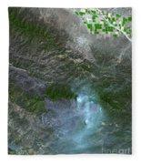 Zaca Fire In Southern California Fleece Blanket