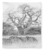 Zebra And Tree Fleece Blanket