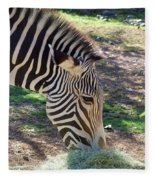 Zebra At Lunch Fleece Blanket