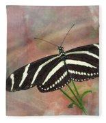 Zebra Longwing Butterfly-3 Fleece Blanket
