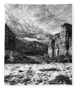 Zion Canyon - Bw Fleece Blanket