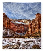 Zion Canyon In Utah Fleece Blanket