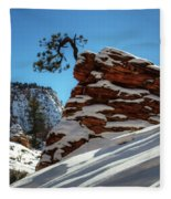 Zion National Park In Winter Fleece Blanket