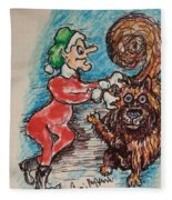 A Elf And Her Dog Fleece Blanket