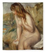 Bather Seated On A Rock Fleece Blanket