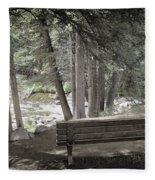 Bench By The Stream Fleece Blanket