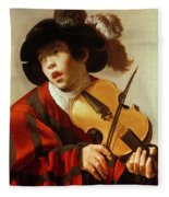 Boy Playing Stringed Instrument And Singing Fleece Blanket